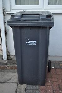 Black wheelie bin